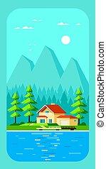 家族, 家, illustration., デザイン, コテッジ, 森林, 平ら