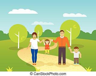 家族, 屋外で, イラスト