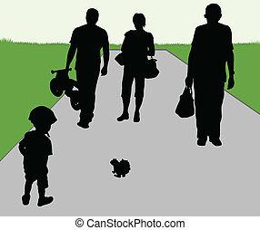家族, 屋外で