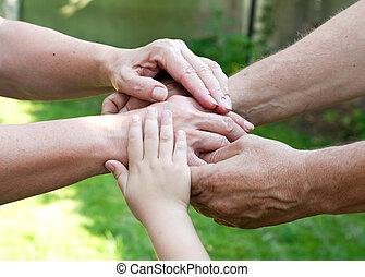 家族, 屋外, 一緒に把握, 手