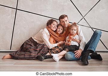 家族, 床, モデル, 新しい, apartment., 幸せ