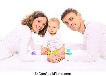 家族, 床, 一緒に, 親, おもちゃ, 赤ん坊, 遊び, 幸せ