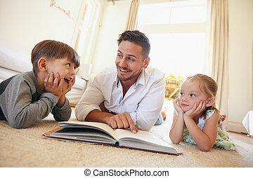 家族, 床, 若い, 本, 読書, あること, 幸せ