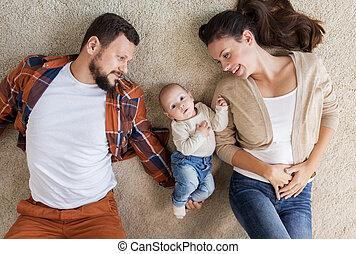 家族, 床, 赤ん坊, 家, あること, 幸せ