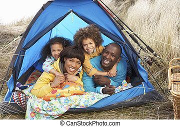 家族, 弛緩, キャンプ, 中, 若い, 休日, テント