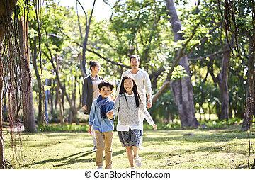 家族, 弛緩, 公園, 2, アジア 子供