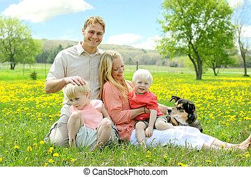 家族, 弛緩, 犬, フィールド, 外, 花, 幸せ