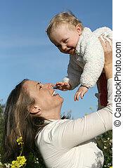 家族, 微笑, 母, 赤ん坊, 遊び, 幸せ