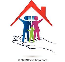 家族, 心配, 保護, ロゴ