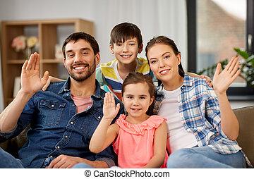 家族, 手, 振ること, 家肖像画, 幸せ