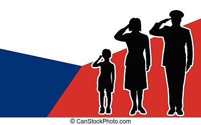 家族, 挨拶, 共和国, 兵士, チェコ