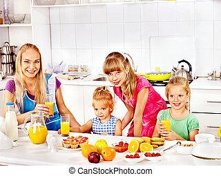 家族, 朝食, 子と一緒に