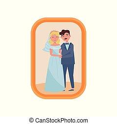 家族, 木製である, 写真フレーム, 結婚されている, イラスト, 恋人, ベクトル, 背景, 肖像画, 新たに, 白