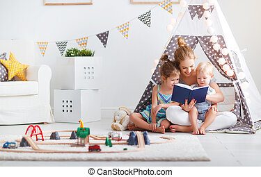 家族, 本, 母, 家, 読書, 子供, テント