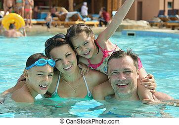 家族, 楽しい時を 過すこと, 中に, プール