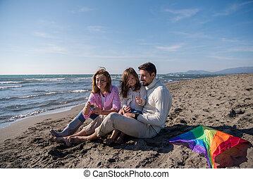 家族, 楽しむ, vecation, の間, 秋日