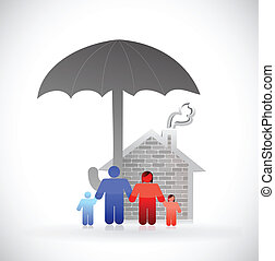 家族, 概念, 傘, イラスト, 保護