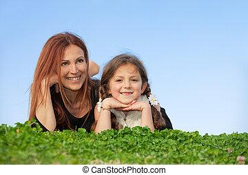 家族, 母, 子供, 幸せに微笑する
