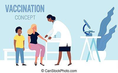 家族, 母, 息子, ワクチン接種