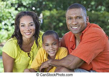 家族, 母, 父, アメリカ人, 息子, 外, アフリカ