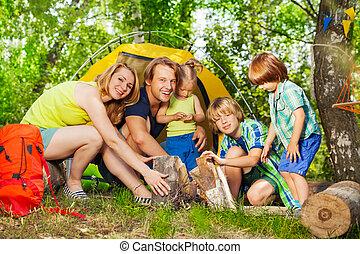 家族, 火, キャンプ, 若い, 森, 作成, 幸せ