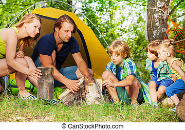 家族, 火, キャンプ, 若い, 森, 活動的, 作成