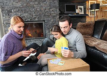 家族, 火, 集まった, 場所 カード, 遊び