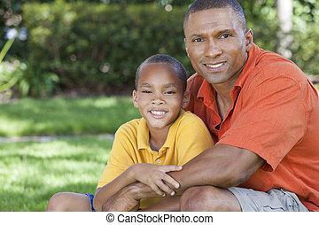 家族, 父, アメリカ人, 息子, 外, アフリカ, 幸せ
