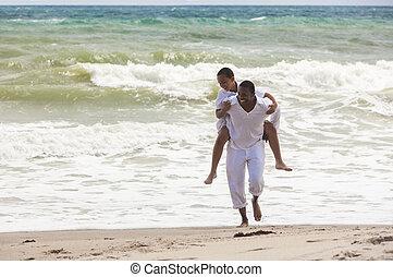 家族, 父, 息子, アメリカ人, アフリカ, 浜