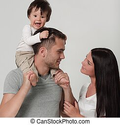 家族, 父, 息子, バックグラウンド。, 母, 白, 幸せ