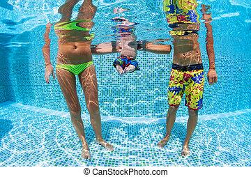 家族, -, 父, 母, 赤ん坊, 幸せ, プール, 水泳