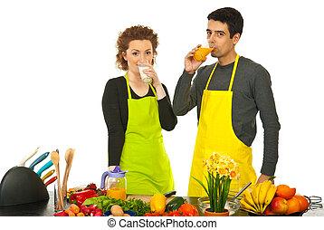 家族, 牛乳, そして, オレンジジュース