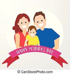 家族, 特徴, 父, 息子, 母, 漫画, 幸せ