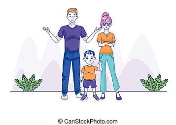 家族, 特徴, 親, 息子, 恋人