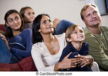 家族, 監視 tv, ソファー, 一緒に座る, 5