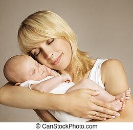 家族, 睡眠, 新生, 生まれる, 母, 新しい子供, 赤ん坊