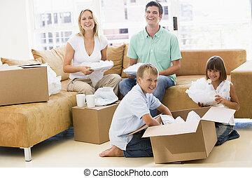 家族, 箱, 家, 新しい, 微笑, 荷を解くこと