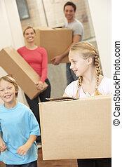 家族, 箱, 届く, 引っ越し, ボール紙, 日, 幸せ