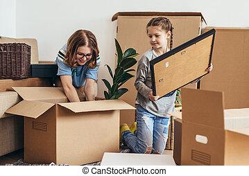 家族, 箱, 新しい 家, ボール紙, 荷を解くこと