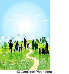 家族, 緑の採草地