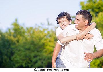 家族, 自然, 父, に対して, 息子, forest., 便乗商法, 緑, outdoors., コーカサス人, 幸せ