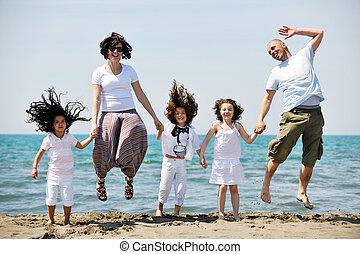 家族, 若い, 楽しい時を 過しなさい, 浜, 幸せ