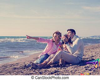 家族, 若い, 秋, vecation, の間, 楽しむ, 日