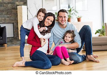 家族, 若い, 2, 肖像画, home., 子供