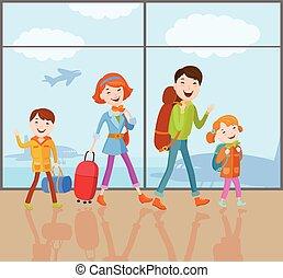 家族, 行く, 旅行