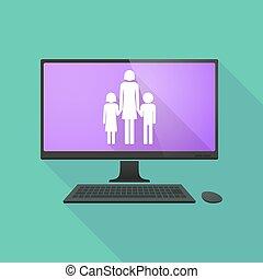 家族, 親, pictogram, 個人的, 単一, コンピュータ, 女性
