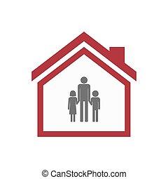 家族, 親, pictogram, 家, 隔離された, 単一, マレ