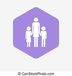 家族, 親, pictogram, 隔離された, 単一, 女性, 六角形