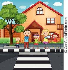 家族, 間, 手を持つ, 交差, 道