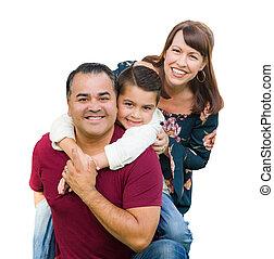 家族, 隔離された, レース, 背景, 混ぜられた, 肖像画, 白, 幸せ
